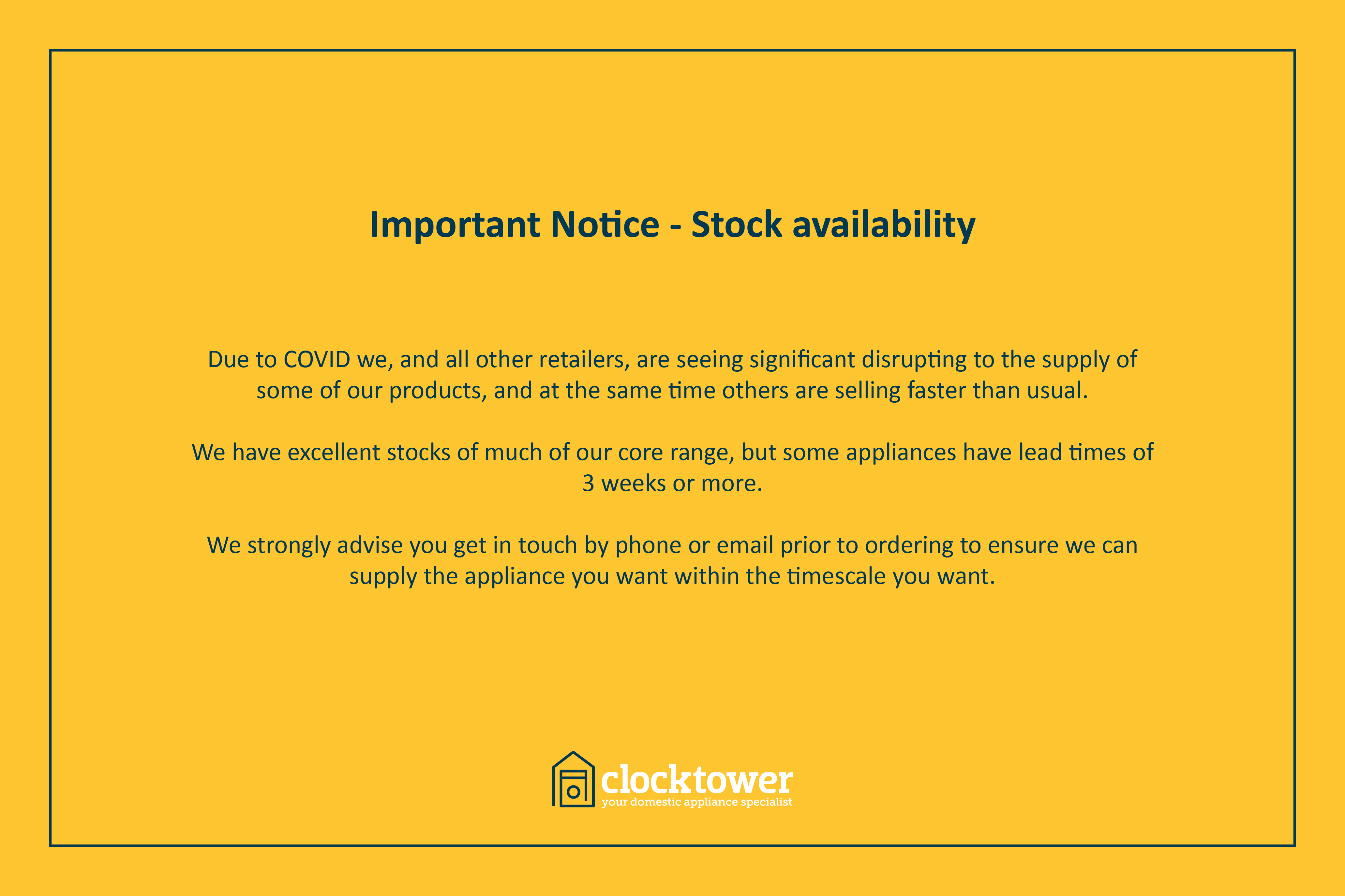 Important Notice - Stock availability