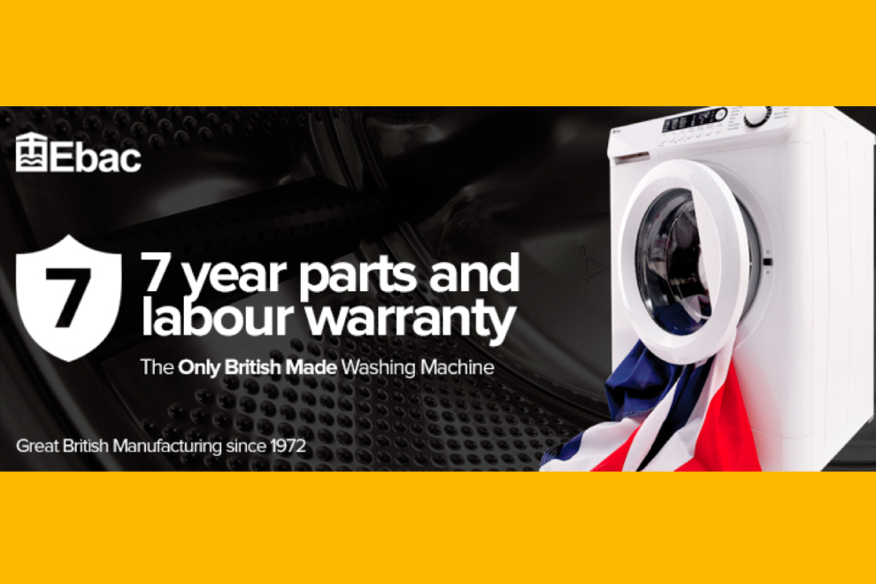 Clocktower Ebac washing machine 7 year guarantee